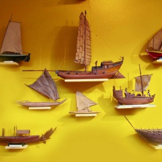 A very interesting international collection of eight ship/raft models. ​Circa: 1920
