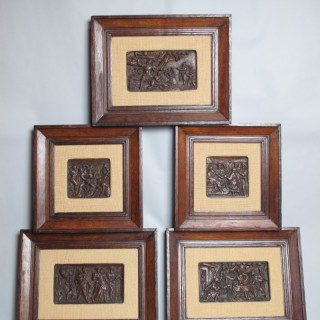 Dutch Oak 5 Relief Sculpture Carvings