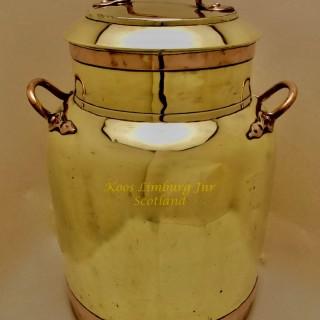 Dutch Folk Art Brass and Copper Milk Churn