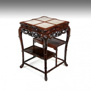 Fine 19th Century  Chinese Padouk Stand / Table With Marble Inserts