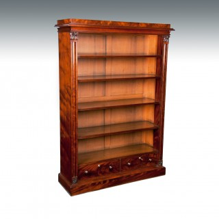 Fine Early Victorian Mahogany Open Bookcase