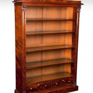 Fine Early Victorian Mahogany Open Bookcase