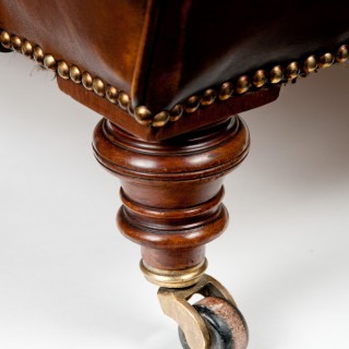 19th Century Victorian Walnut Leather Armchair Shoolbred