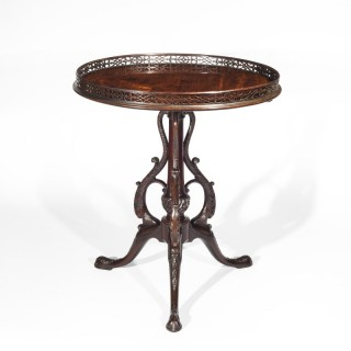 Exceptional and Rare George III Chippendale Mahogany Tripod Table