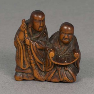 JAPANESE BOXWOOD NETSUKE DEPICTING KANZAN & JITTOKU - SIGNED TOMOKAZU