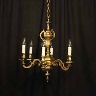 English Gilded Bronze Six Light Chandelier