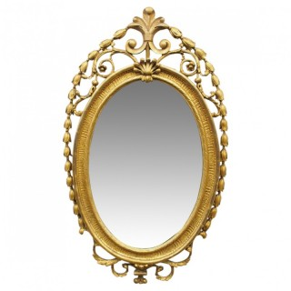 Mid Victorian Carved Giltwood Oval Wall Mirror