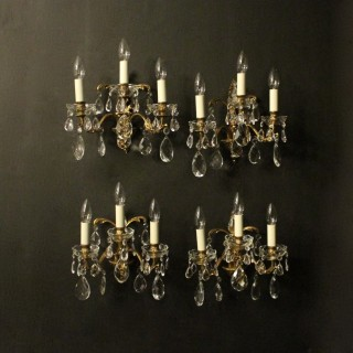 Italian Set Of Four Gilded Antique Wall Lights