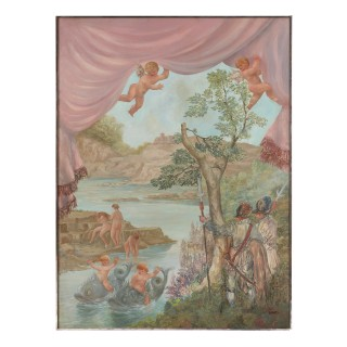 'Cavaliers Watching Bathing Nymphs', large oil on canvas painting by Fabretto
