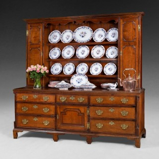 George III period large Oak Welsh Dresser with Mahogany mouldings and crossbandings