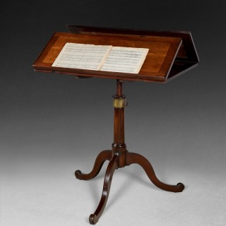 George III Period Oak and Mahogany duet stand