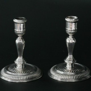 Pair of Britannia Standard candlesticks (part of a toilet service)