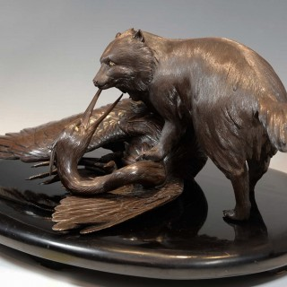 OUTSTANDING QUALITY JAPANESE BRONZE OKIMONO - TANUKI AND HERON