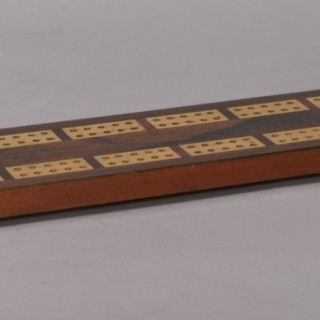 Antique Treen Late Victorian Rosewood Cribbage Board