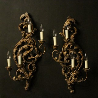Florentine Pair Of Four Arm Wall Lights
