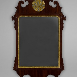 George III Period Mahogany and parcel gilt fretwork wall mirror