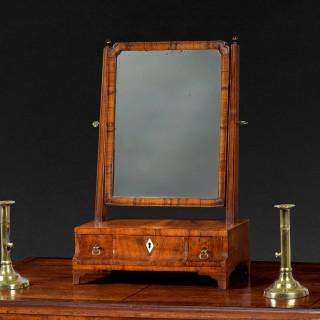 George II period walnut dressing mirror