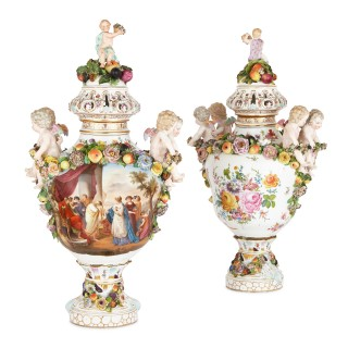 Pair of German Rococo style Dresden porcelain vases