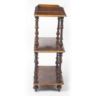 Antique Victorian Inlaid Burr Walnut Whatnot Stand c.1880