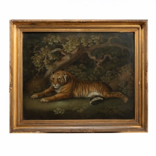 a sand picture of a recumbent tiger attributed to Benjamin Zobel