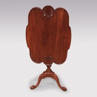 18th Century mahogany Tripod Table with carved shell decoration