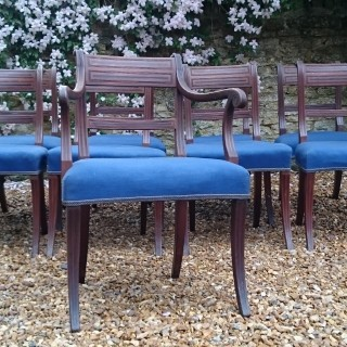 Set of Nine Early 19th Century Regency Mahogany Antique Dining Chairs