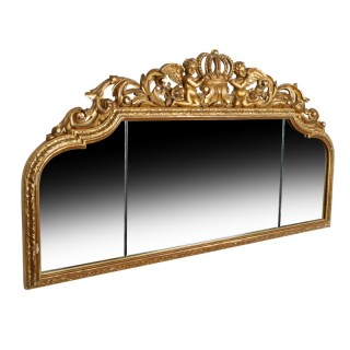 Carved Wood and Gilded Overmantel Mirror
