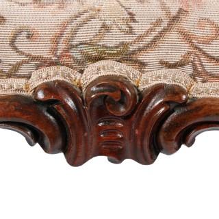Mid Victorian Carved Walnut Stool