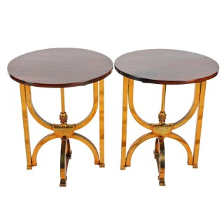 Pair of Circular Mahogany and Brass Occasional Tables