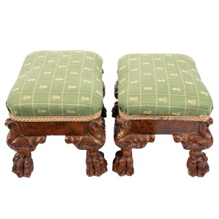 Pair of Carved Walnut and Burr Walnut Foot Stools