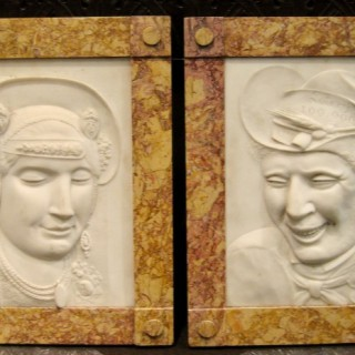 A pair of historically interesting marble portret reliefs made and signed by the sculptor Kasper Hendrik Roskam (1818-1894)