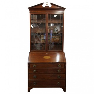 George III Inlaid Mahogany Bureau Bookcase