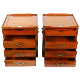 Pair of Teak Military Style Bedside Cabinets