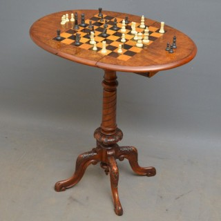 Unusual Victorian Walnut Chess Table