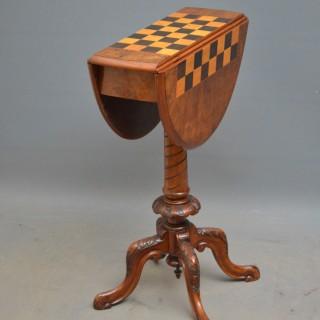 Unusual Victorian Walnut Chess Table