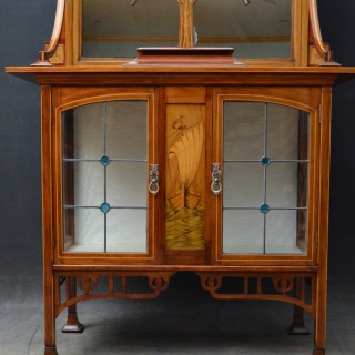 Stylish Art Nouveau Cabinet with Mirror