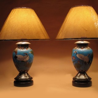 Japanese Cloisonne Parafine Lamps Bases Now Electric Table Lamps
