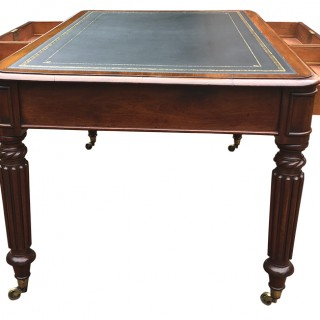 Antique Mahogany Partners Library Table or Desk