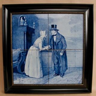 Rare Dutch Delft Porceleyne Fles Dated: 1885 4 tiles Tableau