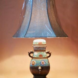 Japanese Bronze Champleve Table Lamp Vase circa 1900