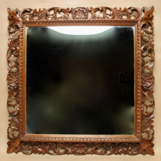 Italian Baroque Style Fruitwood Fine Carved Mirror Circa 1900