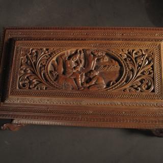 India Sandalwood Carved Box Circa 1900