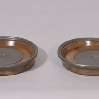 Antique Treen 19th Century Pair of Walnut Bottle Coasters