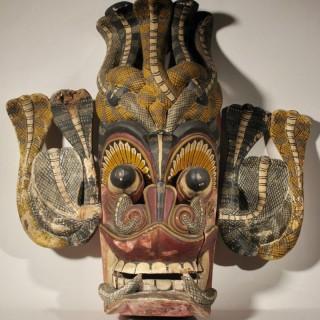 Early Sri Lanka Cobra Sculpture Mask