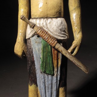 Carved Indian Wooden Polychrome Sculpture Figure
