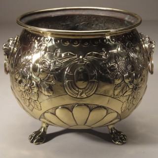 Brass Hand Chased Jardiniere Circa 1900