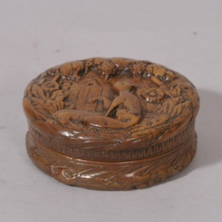 Antique Treen 19th Century Birds Eye Maple Pocket Snuff Box