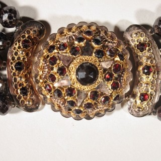 Dutch Provincial Five Row Garnet Golden Clasp Necklace