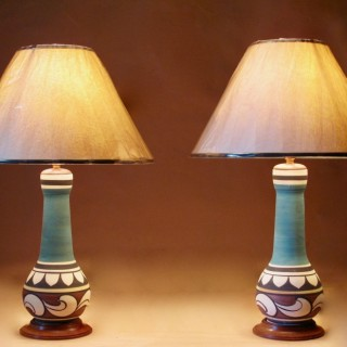 Malaysian Pair of Pottery Table Lamps Circa 1950-1960