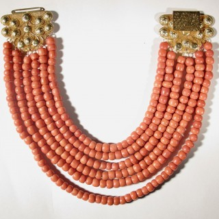 A magnificent and exceptional very large Dutch provincial coral necklace with gold clasp.